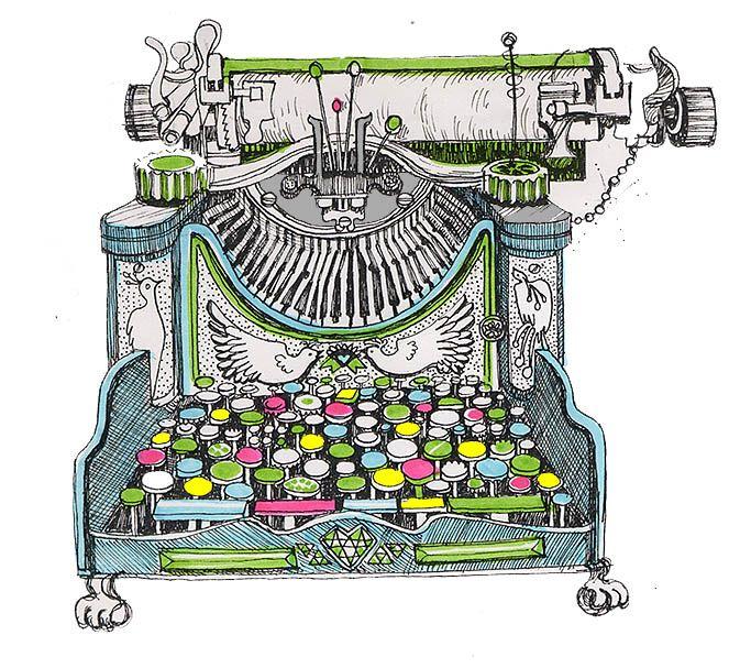 colorful typewriter illustration