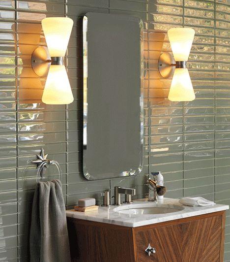 Mid Century Modern Bathroom Wall Sconces : Bathroom hardware, Hardware and The mirror on Pinterest