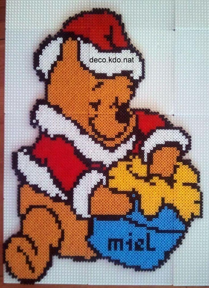 Christmas Winnie the Pooh hama perler by Deco.Kdo.Nat