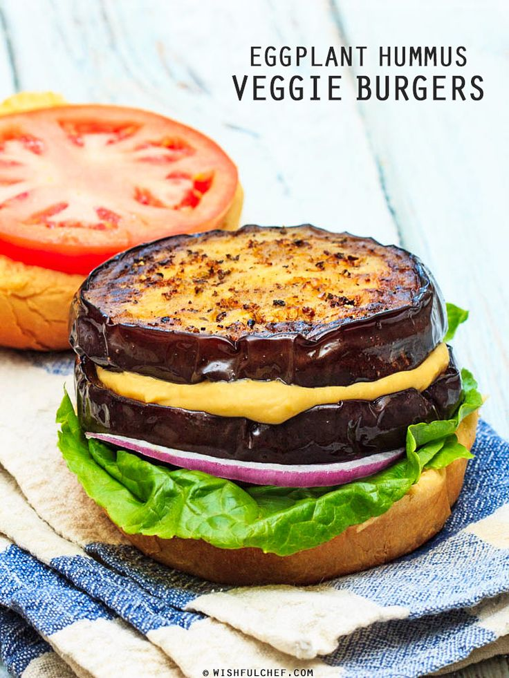 perfect for grilling out - Eggplant Hummus Veggie Burgers by wishfulchef #Burger #Veggie #Eggplant #Hummus