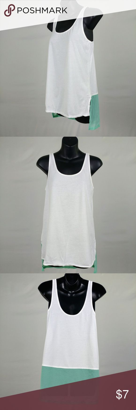Light weight loose tank top with a sheer back pane Light weight loose tank top with a sheer back panel. Great for hot days. Express Tops Tank Tops
