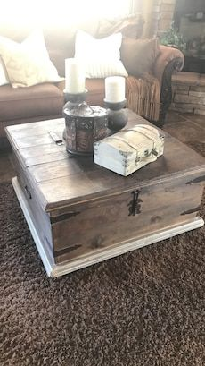 brown wooden chest coffee table