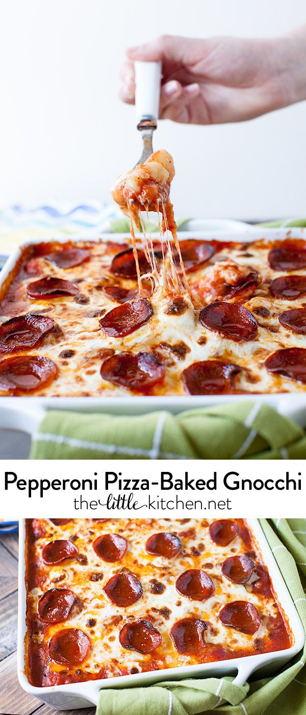 Crazzzzzy good >>> Pepperoni Pizza-Baked Gnocchi from @TheLittleKitchn