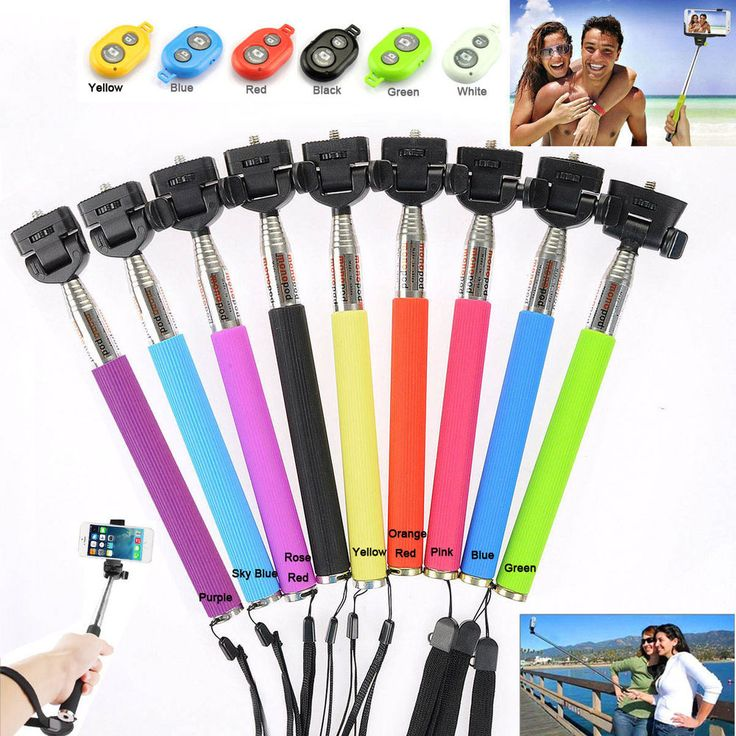details about selfie stick mobile phone holder bluetooth remote for iphone samsung andriod. Black Bedroom Furniture Sets. Home Design Ideas