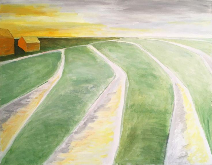 Dutch landschape oil painting, 4 ditches 70x90cm