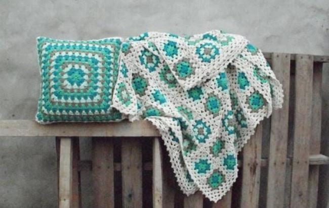 Conjunto Manta Crochet en Hilo+ Funda de almohadón