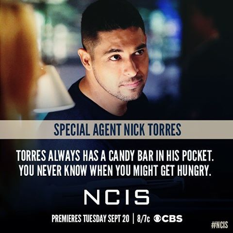 Get to know...#NCIS Special Agent Nick Torres. @wilmervalderrama makes his NCIS debut 9/20 8 pm.