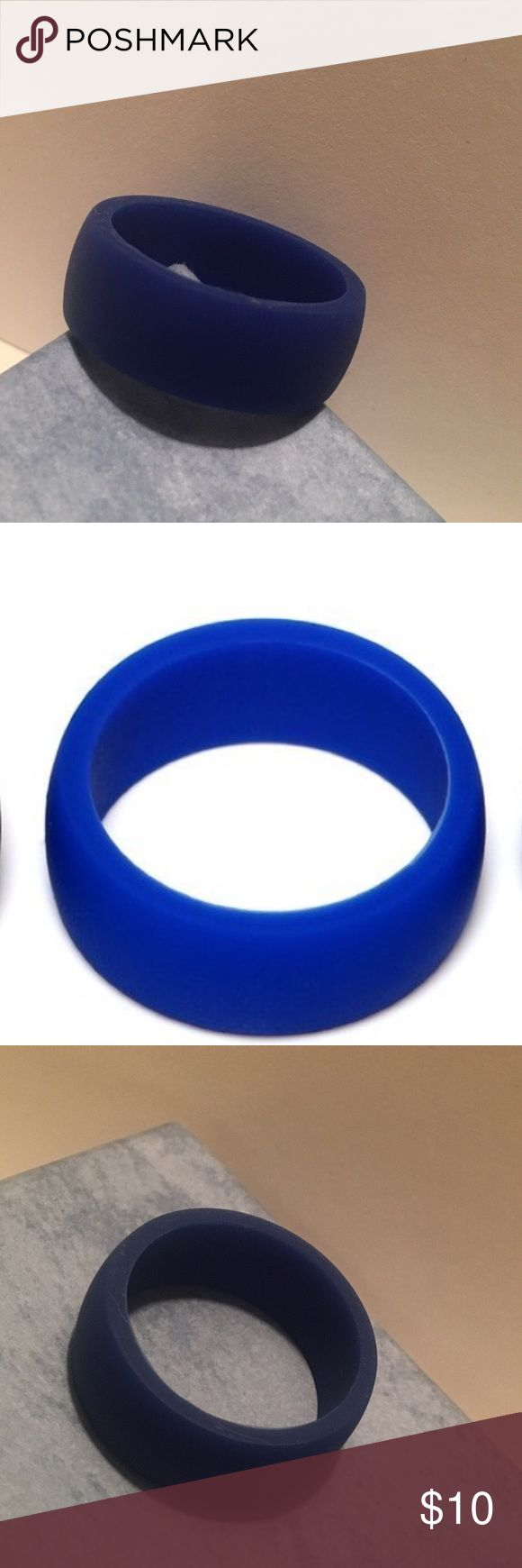 Men's Blue Silicone Sport Wedding Ring, Size 11 Brand new, never worn royal blue silicone wedding ring, size 11. An active life is full of lifting, climbing, grasping, running, sweating, you bend, jump, stretch, to avoid damaging the traditional metal ring or seriously injuring your finger, XLSource silicone ring is a great choice.  Hypoallergenic, non-conductive, non-porous, non-toxic, medical grade silicone rubber band. XL Source Accessories Jewelry