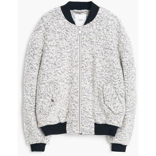 MANGO Speckled Bomber Jacket ($100) ❤ liked on Polyvore featuring outerwear, jackets, coats, medium heather grey, zipper jacket, jacquard jacket, flight jacket, cable jacket and zip jacket