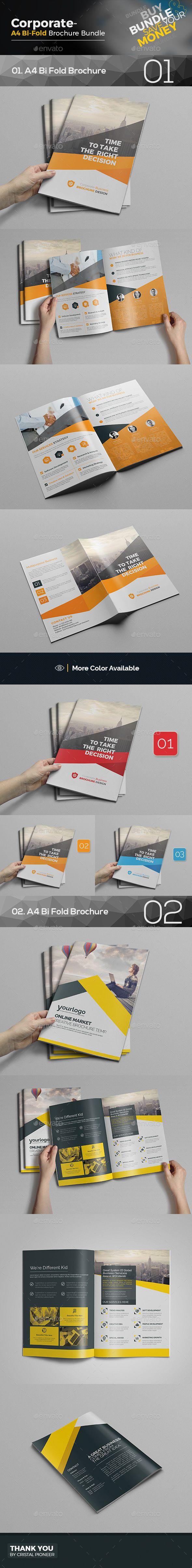 Bi Fold Brochure Templates PSD Bundle 2 in 1 Vector EPS, AI Illustrator