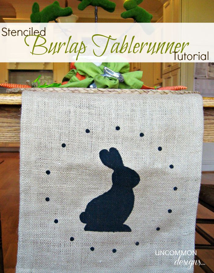 165 best easter fabric images on pinterest easter crafts stenciled burlap table runner tutorial negle Choice Image