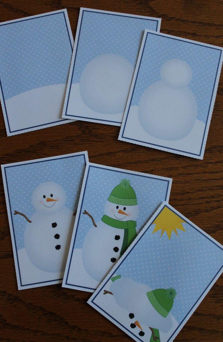 Snowman sequencing cards - a fun winter activity for preschool and ECE