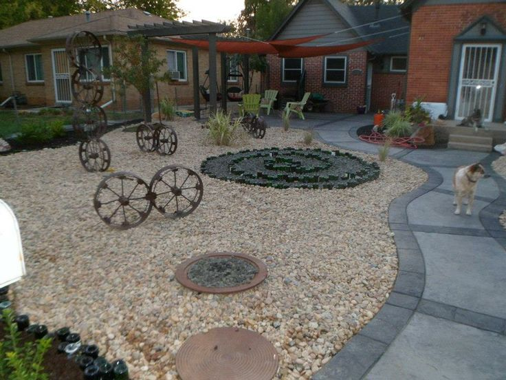 My xeriscaped yard - with wine bottle edging and design: Xeriscaping Yard, Wine Bottle, Recycled Yard