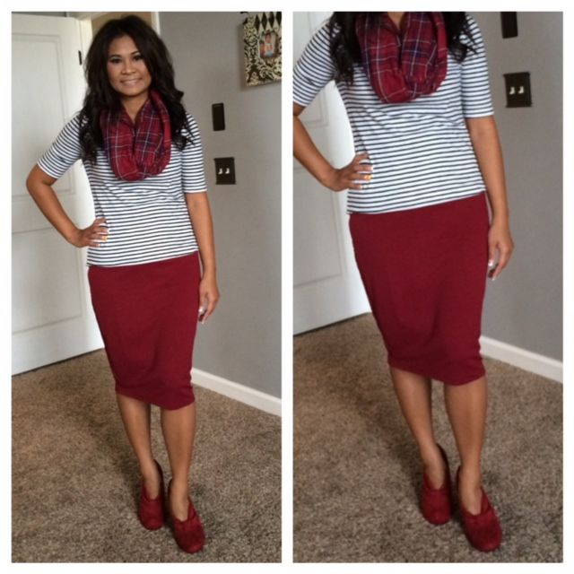 Skirt u0026 Booties. Burgundy skirt stripes and plaid scarf. Modern Modesty. Fall Modest Outfit ...