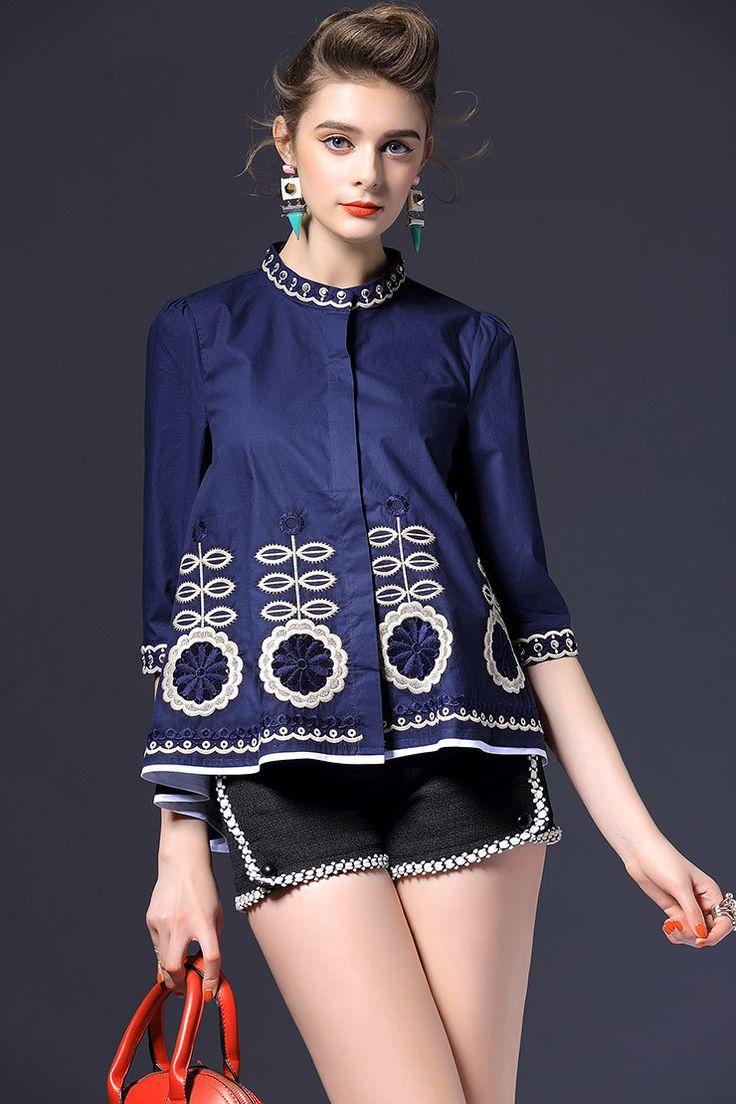 2016 New Fashion Women Shirts Three Quarter Sleeve Single Breastedading Embroidery High-quality Goods Blouse Shirt Blue 159