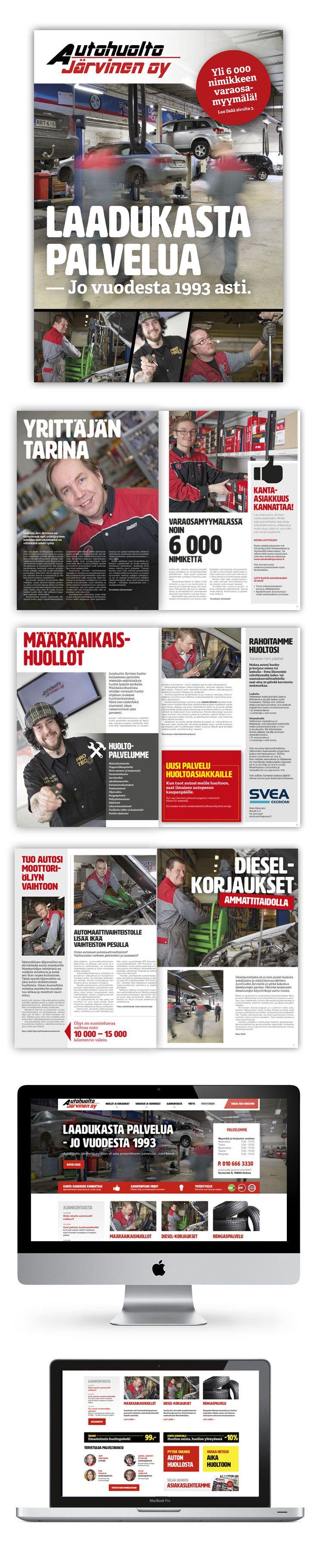 Asiakas: Autohuolto Järvinen Oy. Avainsanat: valokuvaus, esitesuunnittelu, kanta-asiakaskampanja, verkkosivuston suunnittelu, responsive web