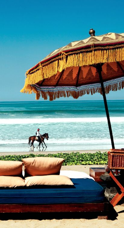 The tropical, beachfront Oberoi, Bali is one of the island's original luxury resorts.