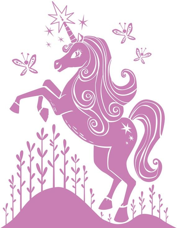 Unicorn wall decal $24  http://www.etsy.com/listing/63770719/kids-wall-decals-unicorn-butterfly