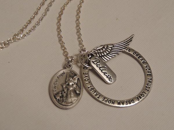 *BELIEVE* GUARDIAN ANGEL WING CHARM LONG NECKLACE - 70cm ROLO CHAIN - DREAM TRUST HOPE LOVE