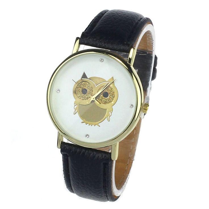 2015 New Fashion Cartoon Owl Style Dress Gold Watch Women Clock Casual Wrist Watch Quartz Watches For Women Mens Gift #men, #hats, #watches, #belts, #fashion