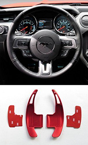 Pinalloy Red Aluminum Steering Paddle Shifter Extension for Ford Mustang 15-17. For product info go to:  https://www.caraccessoriesonlinemarket.com/pinalloy-red-aluminum-steering-paddle-shifter-extension-for-ford-mustang-15-17/