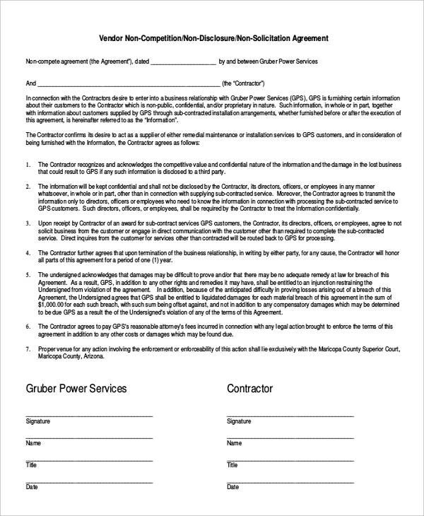 Employee Non Compete Agreement Templates Contract Template Agreement Letter Business Template
