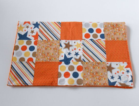 Minky Baby Boy Patchwork Blanket Quilt Riley by KristensCoverlets