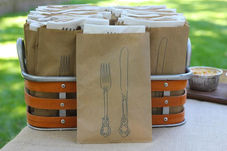 grab and go - love the idea of a fork, spoon, and knife with napkin in a bag for a backyard buffet!