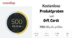 Bekomme mit Crowdtap kostenlose Proben und Gift Cards (USA)
