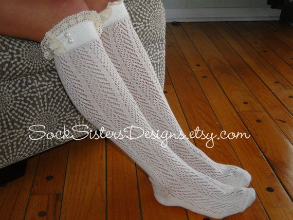 Boot Sock in Chevron Pattern with Ivory Lace by SockSistersDesigns - I had these except less frill at the top when I was at primary school!!