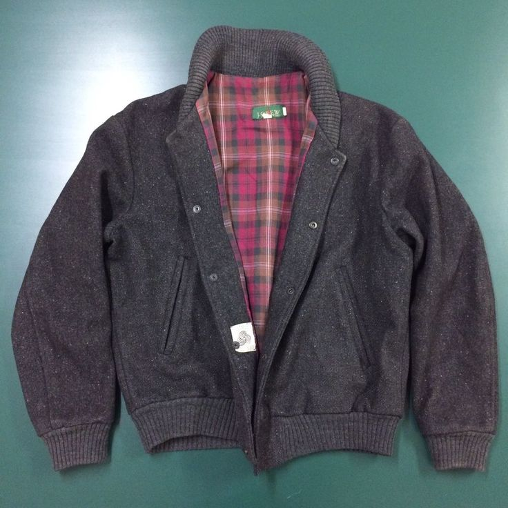 Vintage J. Crew Men's Plaid Lined Snap Front Wool Bomber Jacket Size Small #JCREW #FlightBomber