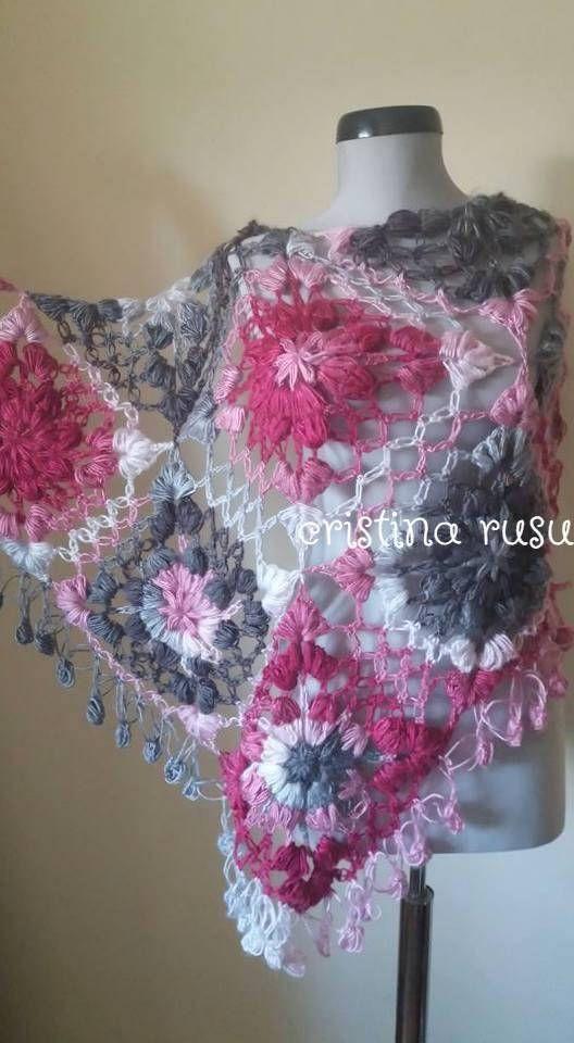 Flower Shawl Triangle Scarf Lace ShawlPink Shawl Crochet
