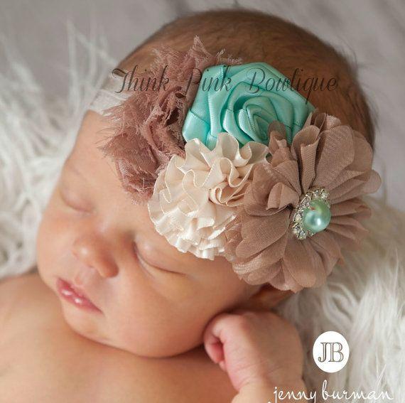 Cinta para la cabeza del bebé bebé Bebé flor de por ThinkPinkBows