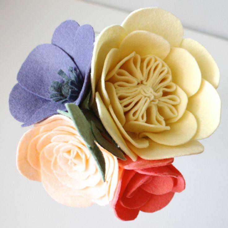 The 776 best felt flowers images on pinterest felt flowers felted items similar to 4 bloom bouquet felt flowers bridesmaid bouquet wedding flowers on etsy mightylinksfo