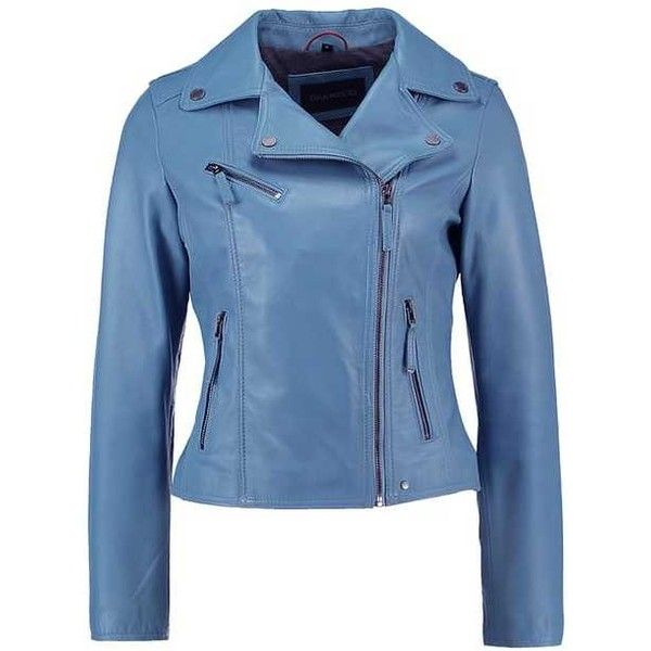 Oakwood Leather jacket light blue (13.125 RUB) ❤ liked on Polyvore featuring outerwear, jackets, blue jackets, light blue jacket, 100 leather jacket, real leather jackets and genuine leather jackets