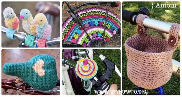 Collection of crochet bicycle fashion accessories patterns and inspiration, bike basket, saddle cover, bike seat cover cozy, Bicycle Skirt Guards...
