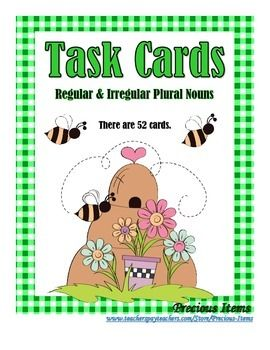 """Students will complete the """"Regular and Irregular Plural Nouns"""" task cards.  The cards can be used as a review.  Place in your literacy stations so students can work on them independently.  There are 52 cards, plus a cover and direction card.  Words include:  child, mouse, cherry, woman, tooth, knife, ox, penny, people, louse, fox, moose, wife, shelf, man, story, leaf, sheep, box, loaf, turkey, dwarf, foot, deer, calf, apple, dish, half, wrench, goose, baby, thief, lady, scarf, country, ..."""