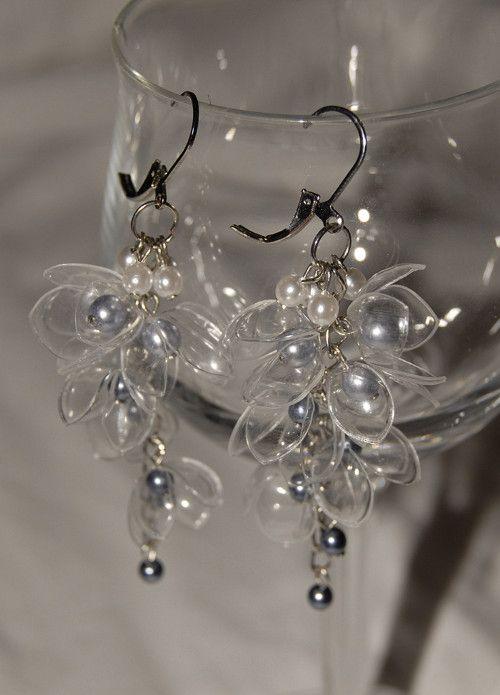 Ledová perleť - náušnice z PET lahví