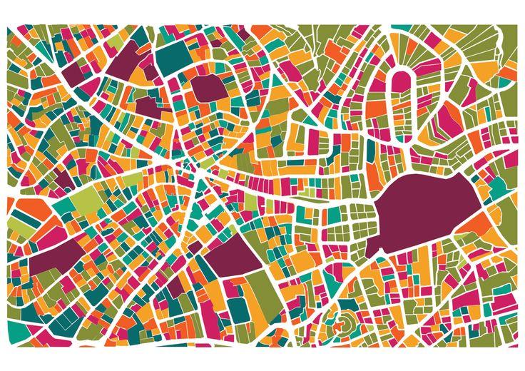 Ramallah colored map - Mona shtayya