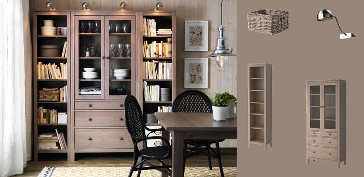 Hemnes grey brown bookcases and glass door cabinet with - Muebles salon ikea ...