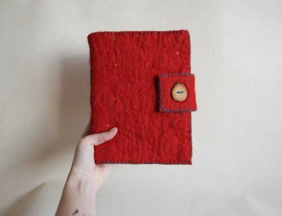 A5 Red Felted Notebook - Felt Cover Journal - Sketchbook with Fabriano Paper