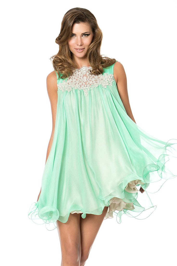 Baby doll mint Cocktail Dress. An unique and delicate appearance.