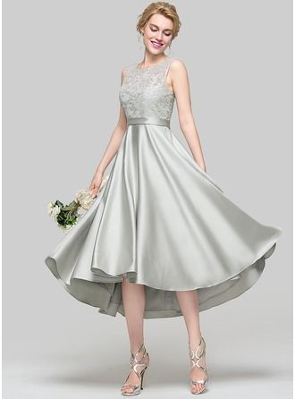 A-Line/Princess Scoop Neck Asymmetrical Zipper Up Regular Straps Sleeveless No Silver Spring Summer Fall General Plus Satin Height:5.7ft Bust:33in Waist:24in Hips:34in US 2 / UK 6 / EU 32 Bridesmaid Dress