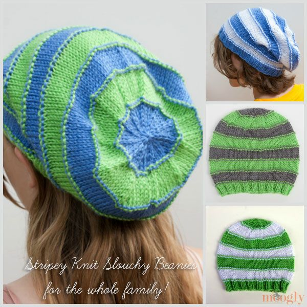Knitting Pattern Beanie Free : Stripey Knit Slouchy Beanies - Free pattern with 4 sizes on Moogly! #knit #fr...