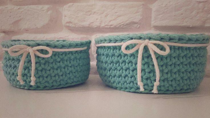 Crochet basket / koszyk szydełkowy / koszyk ze sznurka bawełnianego na szydełku