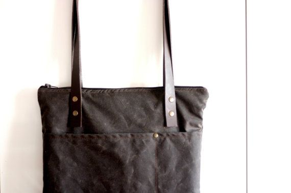 Waxed canvas bag  laptop bag  canvas tote  by Creazionidiangelina, $120.00