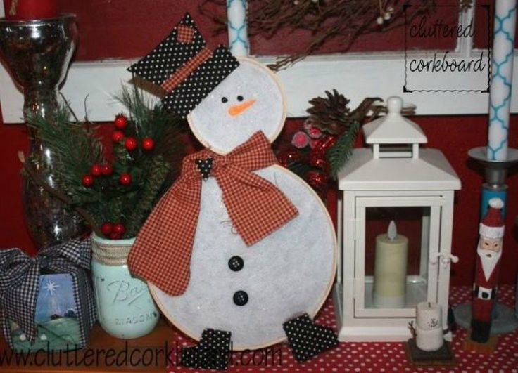 s 15 ultimate ways to use embroidery hoops in your home decor, home decor, Build it up as a embroidery hoop snowman