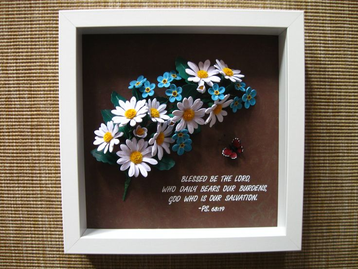 Quilled daisies and forget-me-nots (the frame is aprox. 25x25 cm)