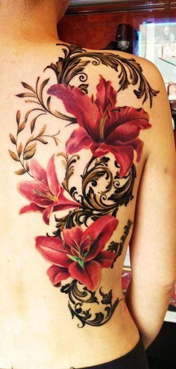 Floral tattoo shoulder love the shading of the black and for Red flower tattoo