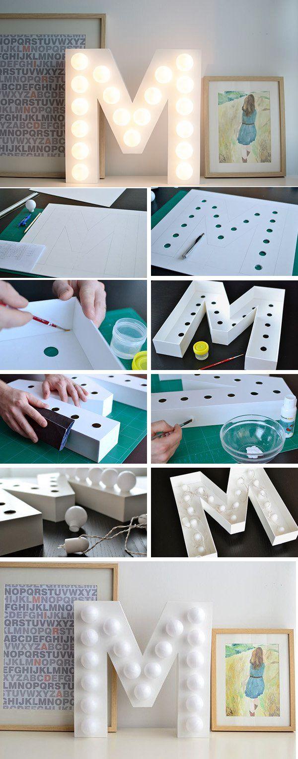 DIY letter light - 35 Creative DIY Letters in Life  <3 <3